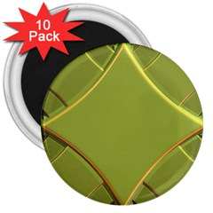 Fractal Green Diamonds Background 3  Magnets (10 Pack)