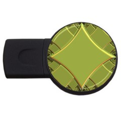 Fractal Green Diamonds Background USB Flash Drive Round (1 GB)