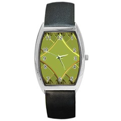 Fractal Green Diamonds Background Barrel Style Metal Watch