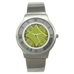 Fractal Green Diamonds Background Stainless Steel Watch