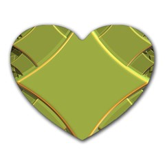 Fractal Green Diamonds Background Heart Mousepads
