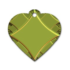 Fractal Green Diamonds Background Dog Tag Heart (one Side)