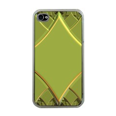 Fractal Green Diamonds Background Apple Iphone 4 Case (clear)