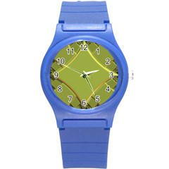 Fractal Green Diamonds Background Round Plastic Sport Watch (S)