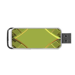Fractal Green Diamonds Background Portable USB Flash (One Side)