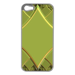 Fractal Green Diamonds Background Apple iPhone 5 Case (Silver)