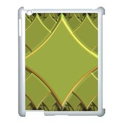 Fractal Green Diamonds Background Apple iPad 3/4 Case (White)