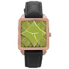 Fractal Green Diamonds Background Rose Gold Leather Watch