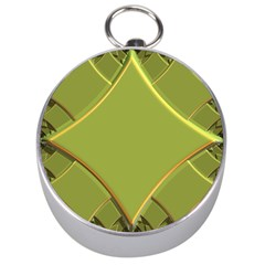 Fractal Green Diamonds Background Silver Compasses