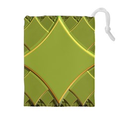 Fractal Green Diamonds Background Drawstring Pouches (Extra Large)