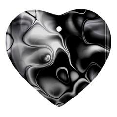 Fractal Black Liquid Art In 3d Glass Frame Ornament (heart)