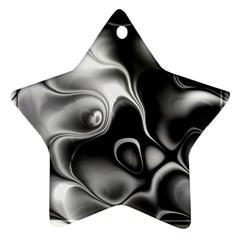 Fractal Black Liquid Art In 3d Glass Frame Ornament (Star)