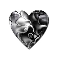 Fractal Black Liquid Art In 3d Glass Frame Heart Magnet
