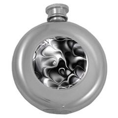 Fractal Black Liquid Art In 3d Glass Frame Round Hip Flask (5 oz)