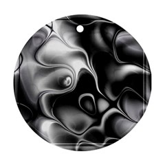 Fractal Black Liquid Art In 3d Glass Frame Round Ornament (two Sides)