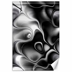Fractal Black Liquid Art In 3d Glass Frame Canvas 20  X 30
