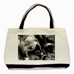 Fractal Black Liquid Art In 3d Glass Frame Basic Tote Bag (two Sides)