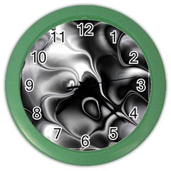 Fractal Black Liquid Art In 3d Glass Frame Color Wall Clocks
