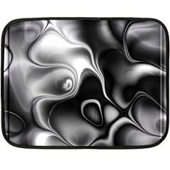 Fractal Black Liquid Art In 3d Glass Frame Fleece Blanket (Mini)