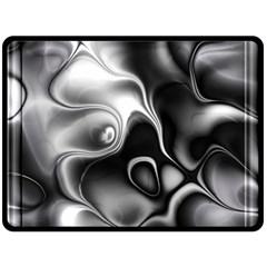 Fractal Black Liquid Art In 3d Glass Frame Fleece Blanket (large)