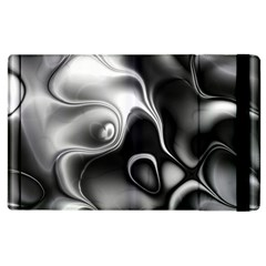 Fractal Black Liquid Art In 3d Glass Frame Apple iPad 2 Flip Case