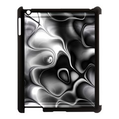 Fractal Black Liquid Art In 3d Glass Frame Apple iPad 3/4 Case (Black)
