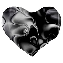 Fractal Black Liquid Art In 3d Glass Frame Large 19  Premium Heart Shape Cushions
