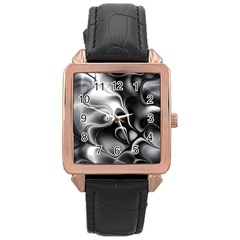 Fractal Black Liquid Art In 3d Glass Frame Rose Gold Leather Watch