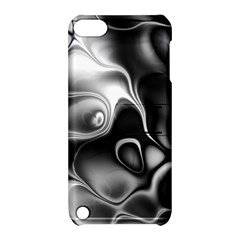 Fractal Black Liquid Art In 3d Glass Frame Apple Ipod Touch 5 Hardshell Case With Stand