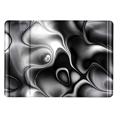 Fractal Black Liquid Art In 3d Glass Frame Samsung Galaxy Tab 10 1  P7500 Flip Case