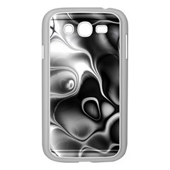 Fractal Black Liquid Art In 3d Glass Frame Samsung Galaxy Grand DUOS I9082 Case (White)