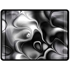 Fractal Black Liquid Art In 3d Glass Frame Double Sided Fleece Blanket (Large)