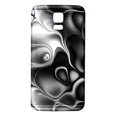 Fractal Black Liquid Art In 3d Glass Frame Samsung Galaxy S5 Back Case (white)