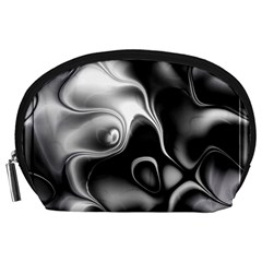 Fractal Black Liquid Art In 3d Glass Frame Accessory Pouches (large)
