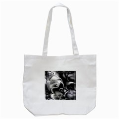 Fractal Black Liquid Art In 3d Glass Frame Tote Bag (White)