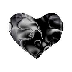 Fractal Black Liquid Art In 3d Glass Frame Standard 16  Premium Flano Heart Shape Cushions