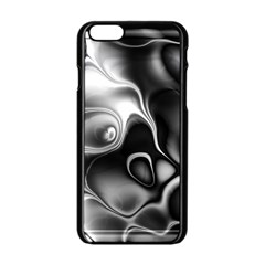 Fractal Black Liquid Art In 3d Glass Frame Apple iPhone 6/6S Black Enamel Case