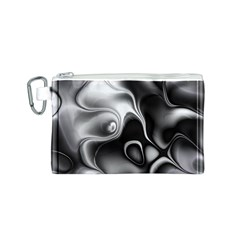 Fractal Black Liquid Art In 3d Glass Frame Canvas Cosmetic Bag (S)