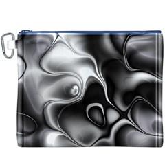 Fractal Black Liquid Art In 3d Glass Frame Canvas Cosmetic Bag (xxxl)