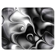 Fractal Black Liquid Art In 3d Glass Frame Double Sided Flano Blanket (medium)