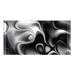 Fractal Black Liquid Art In 3d Glass Frame Satin Shawl