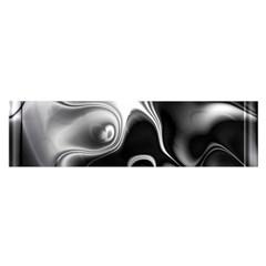 Fractal Black Liquid Art In 3d Glass Frame Satin Scarf (oblong)