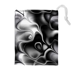 Fractal Black Liquid Art In 3d Glass Frame Drawstring Pouches (extra Large)