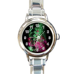Pink And Green Shapes Make A Pretty Fractal Image Round Italian Charm Watch
