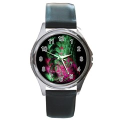 Pink And Green Shapes Make A Pretty Fractal Image Round Metal Watch