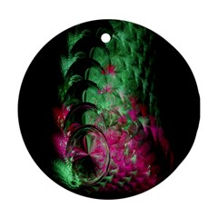 Pink And Green Shapes Make A Pretty Fractal Image Ornament (round)