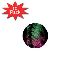 Pink And Green Shapes Make A Pretty Fractal Image 1  Mini Magnet (10 Pack)