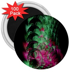 Pink And Green Shapes Make A Pretty Fractal Image 3  Magnets (100 pack)