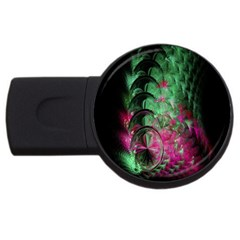 Pink And Green Shapes Make A Pretty Fractal Image USB Flash Drive Round (1 GB)