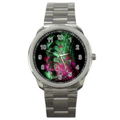 Pink And Green Shapes Make A Pretty Fractal Image Sport Metal Watch